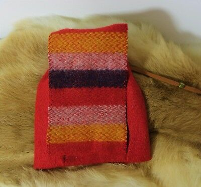 """Red Wool Trade Cloth bag  4""""x5"""" with a leather draw string."""