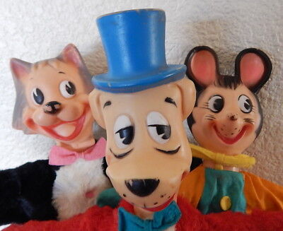 Huckleberry Hound & Mr. Jinks & Pixie Mouse Hand Puppets 1959/1962