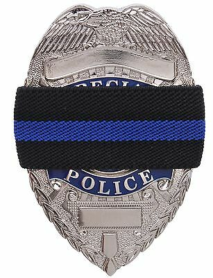 Thin Blue Line Mourning Band - Black Elastic TBL Police Support Badge Bands