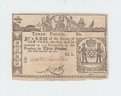 New York £3 Three Pounds Note / February 16 1771 / Colonial Currency US USA