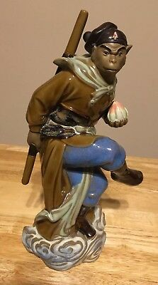 Vintage Hand Painted Ceramic Chinese Kung Fu Monkey Statue
