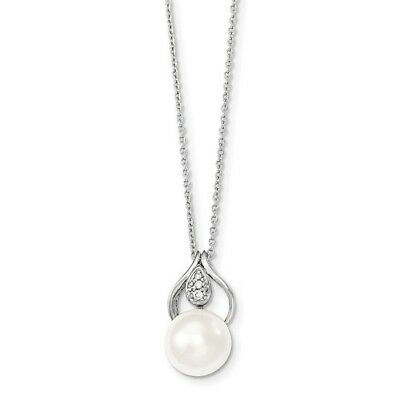 Sterling Silver 17in 11-12mm White Freshwater Cultured Pearl CZ Necklace