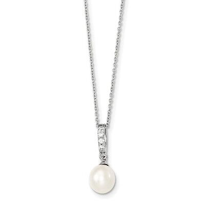 Sterling Silver 17in 8-9mm White FW Cultured Pearl CZ Chain Slide Necklace