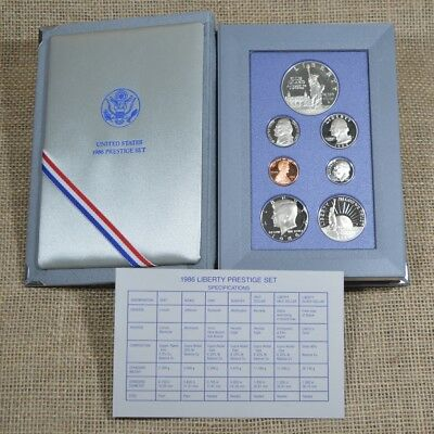 1986 United States Liberty Prestige Silver Dollar 7-Coin Proof Set Complete