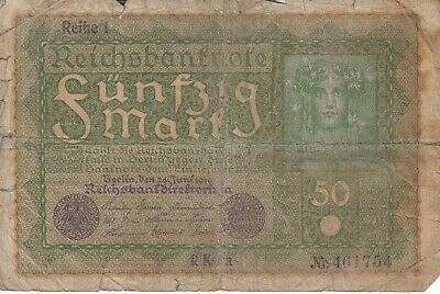 Currency Germany 1919 Reich Banknote 50 Funfzig Mark Circulated Poor Faults
