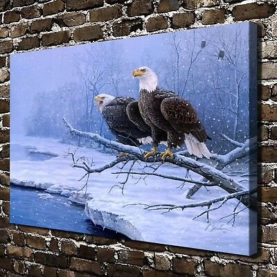 Two birds perched on a branch HD Print on Canvas Home Decor Wall Art Pictures