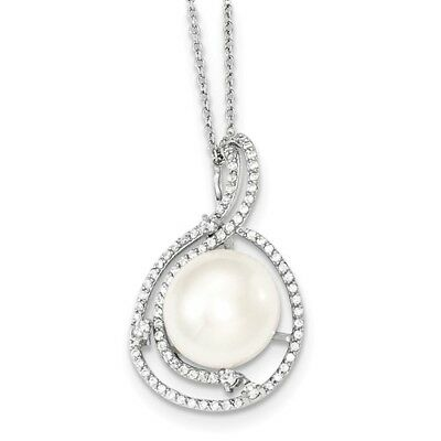 Sterling Silver 12-13mm White Freshwater Cultured Pearl CZ Pendant