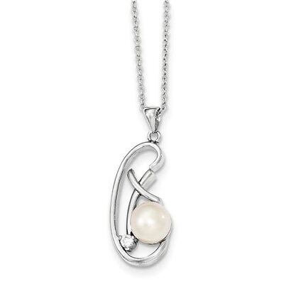 Sterling Silver 7- 8mm White Freshwater Cultured Pearl CZ Pendant