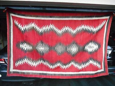 Beautiful Early NAVAJO NAVAHO Indian Rug...Red Ground w/Geometric Design..VGCond