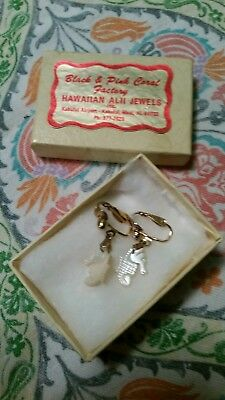 Vintage Hand Carved MOP Seahorse Mother of Pearl Clip on Earrings