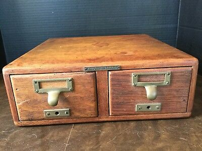 Antique Tiger Oak Library Bureau Sole Makers File Index Card Catalog 2 Drawer