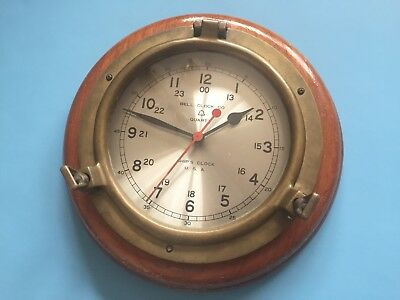 Authentic Vintage Bell Clock Co Quartz Ships Clock Brass and Wood Nautical Clock
