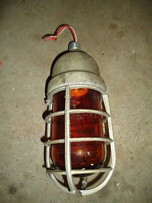 Vintage Crouse Hinds Explosion Proof Industrial Cage Light Fixture, AMBER!