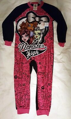 NEW GIRL'S MONSTER HIGH ZIPPERED BLANKET SLEEPER SIZE XS 4/5 one piece Pajama