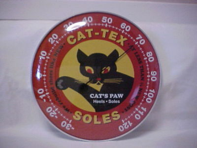 """Cat - Tex Soles Sign 12"""" Round Thermometer With A Glass Dome Lens"""