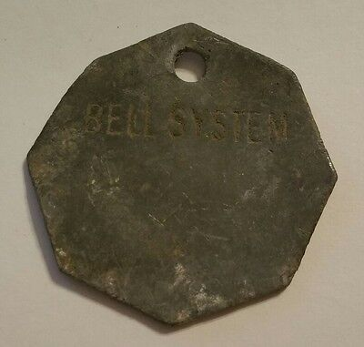 ~Antique BELL SYSTEMS TELEPHONE Octagon Metal Tag; Tool Check or Property Tag~