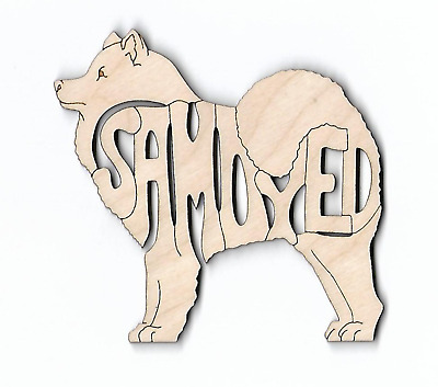 Samoyed Dog laser cut and engraved wood Magnet