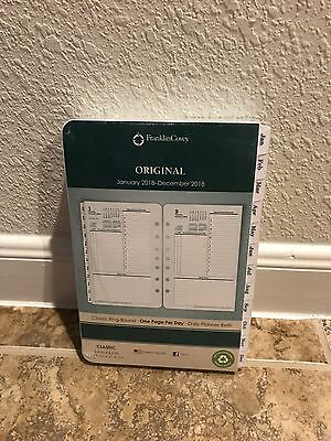 Franklin Covey Original White Tabbed Refill 2018 Classic Daily 1 Page Per Day