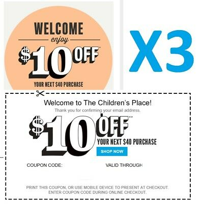 (3X) Children's Place $10 Off $40 Cpn Codes - Exp 12/21 -  Delvrd W/in 2 Hrs