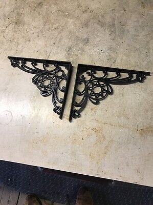 Pair Antique Cast Iron Victorian Star Clover Shelf Brackets Hardware Rare Ornate