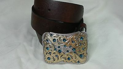 Genuine Leather Brown Men's/Women's Belt Size L With exchangeable buckle