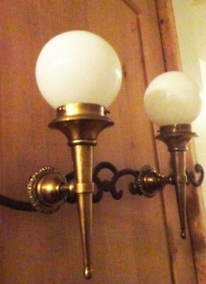 Vintage Brass Interior Exterior Sconce Light Pair With Milk White Glass Globes