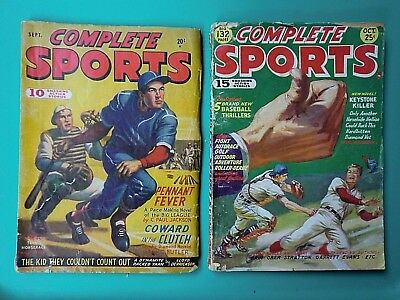 Vintage Pulp Magazine COMPLETE SPORTS 1947 & 1950 lot of 2