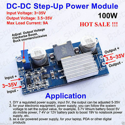 DC-DC 6-35V to 6-55V 10A 200W boost converter charger step-up power module YEHN