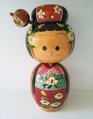 "Vintage Japanese Large 10.5"" KOKESHI Nodder Bobble Head Doll Beautiful Kimono"