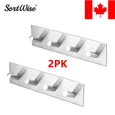 2PK Stainless Steel Self Adhesive Hooks Strong Sticky Stick on Wall Door 4 Hooks