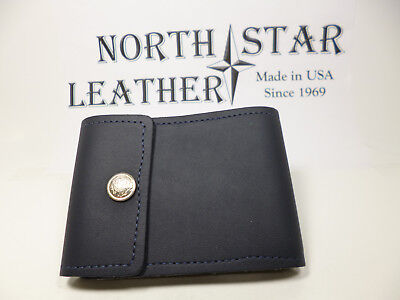 North Star Navy End Stub Leather Checkbook Cover-Made In USA-Factory Seconds#134
