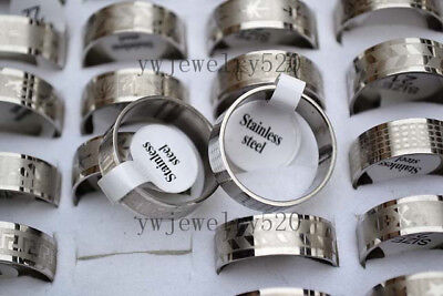 FREE Fashion 10pcs Wholesale Mixed Lots Silver Stainless steel Rings 17-21mm