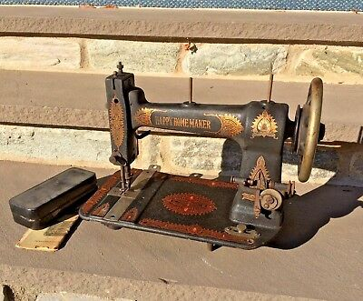 Beautiful Antique Vtg Ornate Decorative Cast Iron Metal Sewing Machine Steampunk