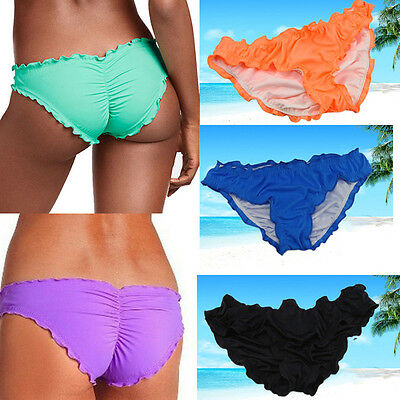 Women CHEEKY RUFFLE Swimwear Scrunch Brazilian Thong Summer Bikini Bottom PLUS