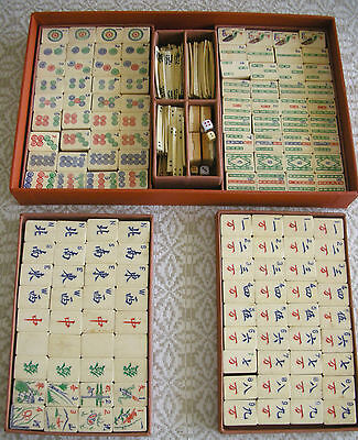 BONE/BAMBOO MAH JONG SET, circa 1920's, 148 tiles