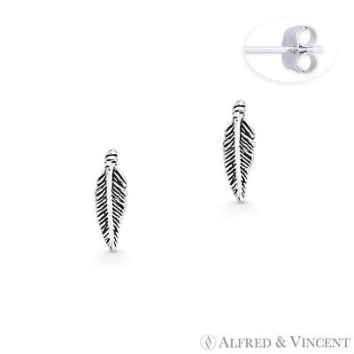 Antique-Finish Bird's Wing Feather Charm Stud Earrings 925 Sterling Silver Studs