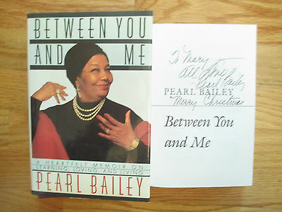"""PEARL BAILEY signed BETWEEN YOU AND ME 1989 1st Edition Book """"To Mary"""" CHRISTMAS"""