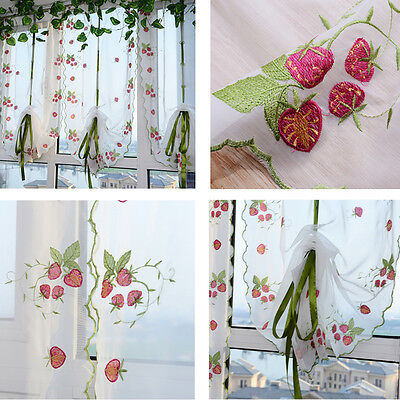 Pastoral Tulle Window Curtain Roman Embroidered Sheer Curtain For Kitchen Living