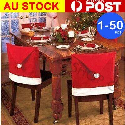 1-50pcs Christmas Chair Covers Dinner Table Santa Hat Home Decorations Ornaments