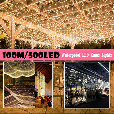 500LED 100M White Fairy String Lights for Christmas Outdoor Decor Wedding Garden