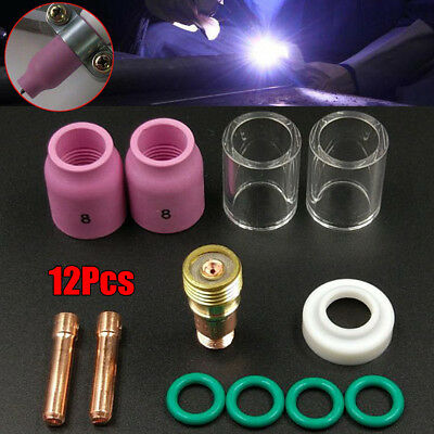 12x TIG Welding Torch Stubby Gas Lens #10 Pyrex Glass Cup Kit For WP-17/18/26