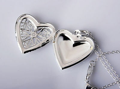 925 Sterling Silver Star Heart Locket Necklace chain pendant Photo Necklace