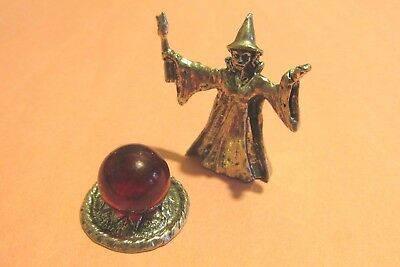 Pewter Witch  Figurine With Crystal Ball