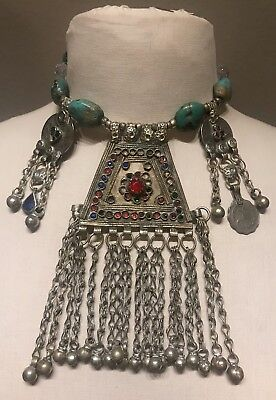 VTG India Sterling Silver Turquoise Sapphire Ruby Emerald Rupees Choker Necklace