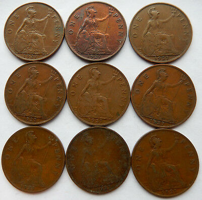 "1927 UK / Great Britain One Penny Coin ""Lot of 9 Coins""   SB5039"