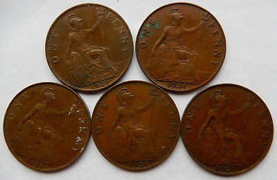 "1921 UK / Great Britain One Penny Coin ""Lot of 5 Coins""   SB5043"