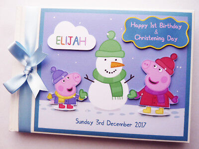 Personalised Peppa Pig Winter Fun Snow Birthday Guest Book - Any Design