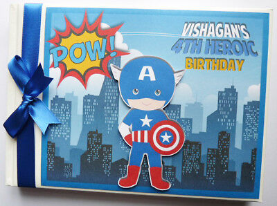 Personalised Captain America Boys First/1St Birthday Guest Book Any Design