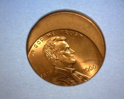 2000 Lincoln Cent  OFF CENTER, HIGH GRADE  US ERROR COIN