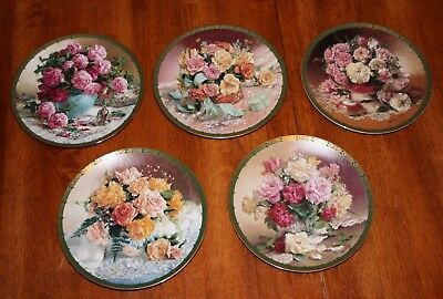 Set of Five W.S. George Romantic Roses by Vieonne Morley Collector Plates